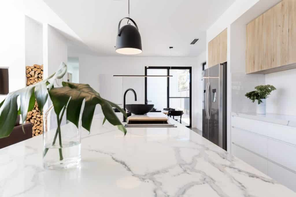 a marble kitchen counter