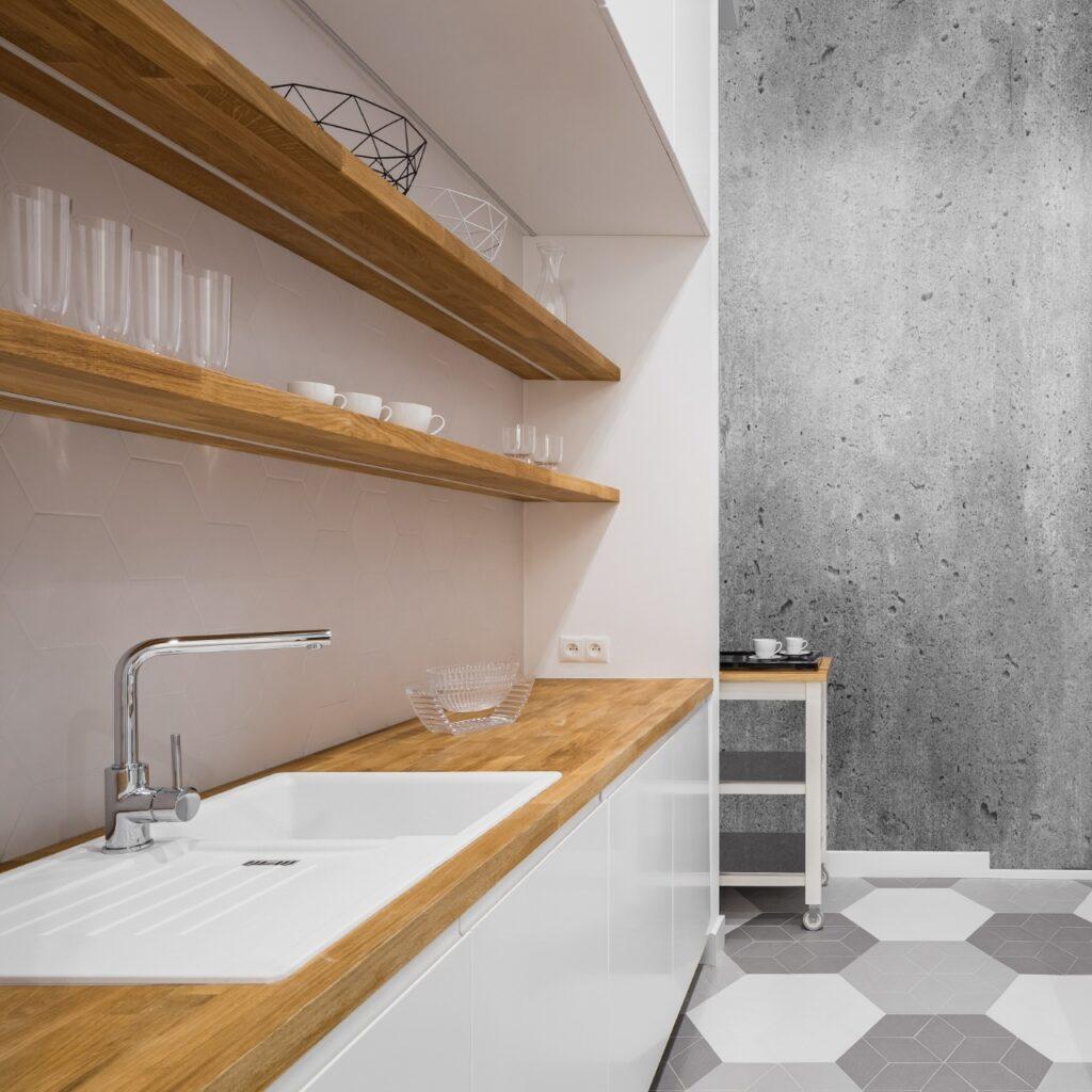 a very clean looking wood countertop