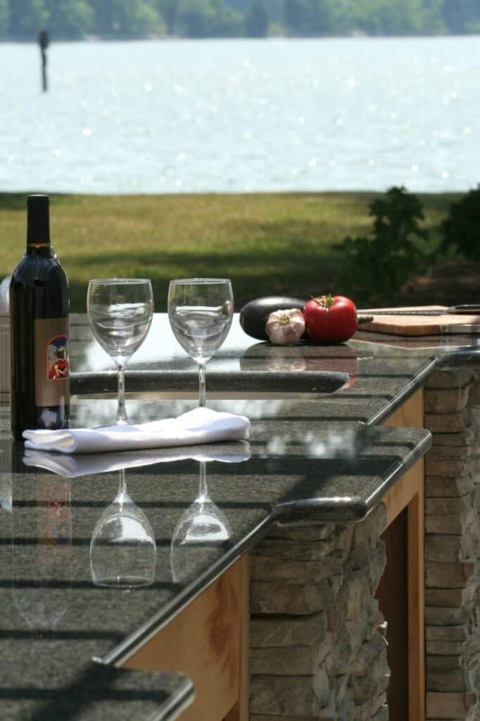 Riverside granite countertop on outdoor kitchen