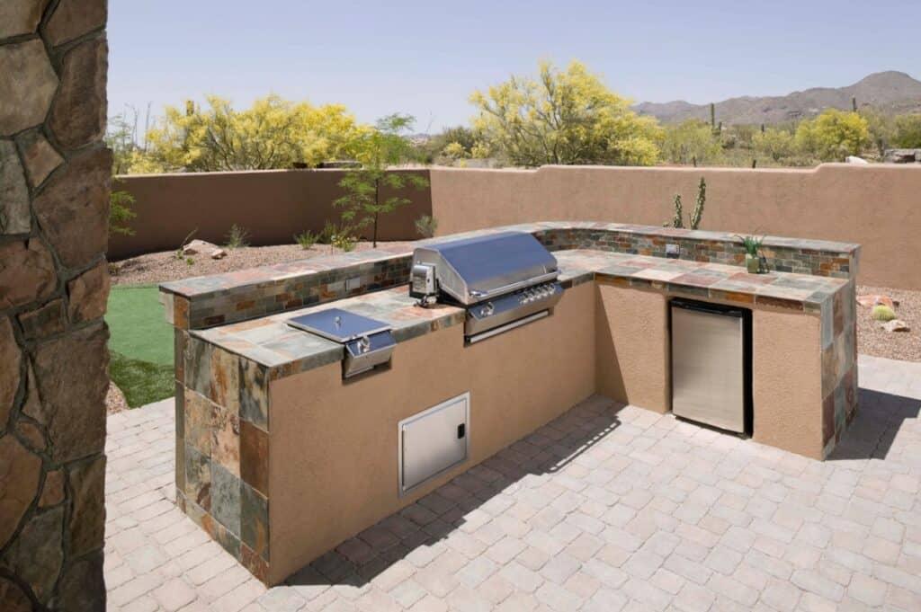 Tile countertop in outdoor area