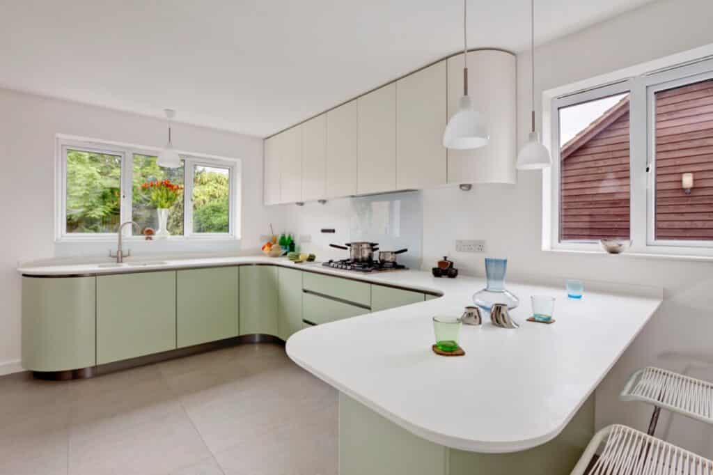 kitchen outfitted with corian countertop