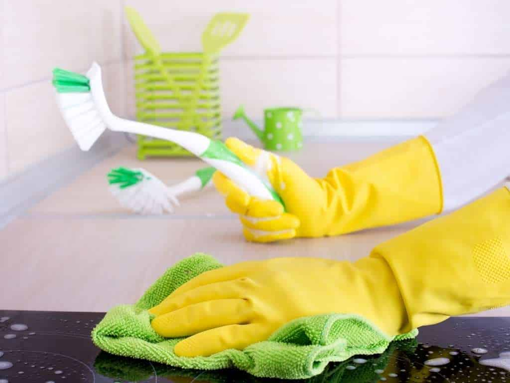 woman ready to clean granite