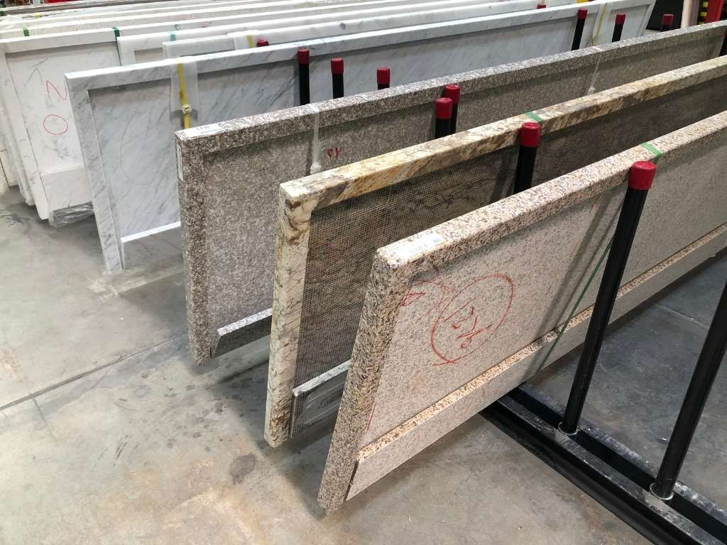 quartz and stone countertops on a line