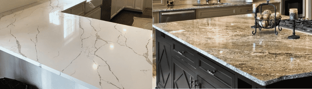 Two countertops side by side. On the left a white quartz one, on the right a brownish yellow one.